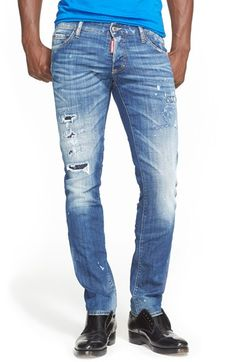 Dsquared2 Ripped & Repaired Slim Fit Jeans (Indigo) available at #Nordstrom