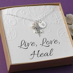 RN Registered Nurse Necklace - Graduate Card, 2014 Graduation Gift, Sterling Silver Charm on Etsy, $32.00
