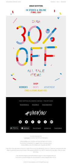 Urban Outfitters -  4/19/15 SL: Hurry! Last day for 30% Off All Sale Items
