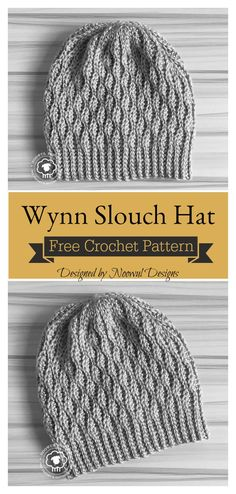 Wynn Slouch Hat Free Crochet Pattern - Crochet and Knitting Patterns Bonnet Crochet, Crochet Beanie Pattern, Knit Or Crochet, Crochet Crafts, Crochet Stitches, Crochet Projects, Crochet Ideas, Crochet Slouch Beanie, Slouchy Beanie