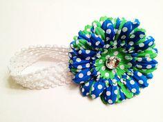 $8.00 Flower Clip/Headband Bright Blue & Green Flower Polkadot Flower Hair Clip w/ Clear Gem Center. Wear as a clip or headband. One size fits all!