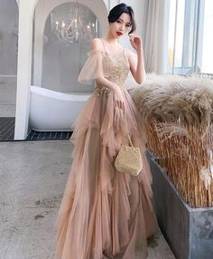 Description Champagne tulle lace long prom dress tulle lace evening dress Material: tulle, lace Size: US US US US US US 12 US 2 Bust(in Bridesmaid Dresses Long Champagne, White Homecoming Dresses, Tulle Bridesmaid Dress, Prom Dresses, Tulle Lace, Tulle Dress, White Tulle, Pink Lace, Dress Lace