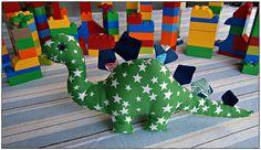 Green homemade dinosaur soft toy