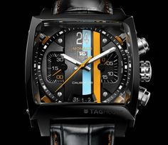 TAG Heuer Calibre 36 - Love the color pallet here with the black and the Gulf colors.