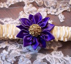 Purple and Ivory Garter with Vintage by AllAHeartDesires on Etsy, $32.00