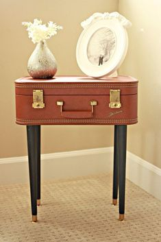 Shabby Chic Decor and Bedding Ideas - DIY Vintage Suitcase Table - Rustic and Romantic Vintage Bedroom, Living Room and Kitchen Country Cottage Furniture and Home Decor Ideas. Step by Step Tutorials and Instructions http://diyjoy.com/diy-shabby-chic-decor-bedding #shabbychicdecoronabudget