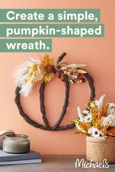 Autumn Crafts, Thanksgiving Crafts, Holiday Crafts, Diy Halloween Decorations, Halloween Crafts, Fall Decorations, Fall Projects, Wreath Crafts, Fall Home Decor