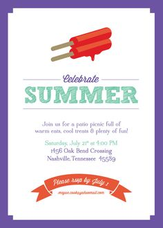 Summer Party Invitation by dkw646 on Etsy, $10.00