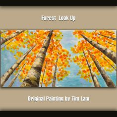 Original art Abstract Painting large Oil Painting, blue sky aspen tree art fall Landscape Painting Look up forest by tim lam 48x24x1.5. $319.00, via Etsy.
