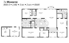 The Washington By Marlette Hermiston Mobile Home Floor Plans, House Floor Plans, Modular Log Homes, Manufactured Homes For Sale, Bed & Bath, Washington, How To Plan, House Ideas, Collection