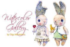 Plush rabbits by Olga Moskaleva on @creativemarket
