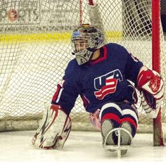 Steve Cash acts as goalie during a demonstration at the USOC 2013 #TeamUSA Media Summit. #SledHockey #roadtoSochi