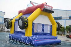 The red truck inflatable jumping bouncer with basketball hoop for kids, cheap bounce house for sale at sunjoy.