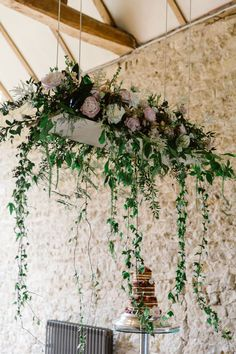 Elegant Summer Wedding at Notley Abbey with Pronovias Wedding Dress Hanging Flower Arrangements, Hanging Flowers Wedding, Wedding Flower Arrangements, Floral Arrangements, Wedding Bouquets, Wedding Venue Decorations, Wedding Table Centerpieces, Wedding Themes, Marquee Decoration