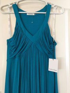 NWT Calvin Klein Sleeveless Summer Dress  Size 10  #CalvinKlein #SleevelessEmpireWaist #SummerBeach
