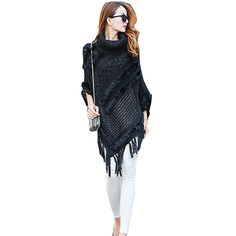 Large size women's High-necked sweater shawl Winter Long style Mohair fringed shawl fashion ladies Fur decorated Cloak shawl