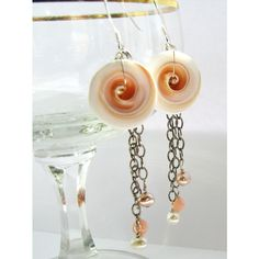 Natural Pink Conch Shell Earrings FW Pearls, Pink Coral Chain Drop... ($28) ❤ liked on Polyvore featuring jewelry, earrings, pearl drop earrings, sterling silver dangle earrings, chain drop earrings, dangle earrings and long drop earrings