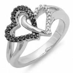 Share and get $20 off your order of $100 or more. 0.25 Carat (ctw) Sterling Silver Round Black & White Diamond Ladies Split Shank Tangled Double Heart Love Promise Ring 1/4 CT - Dazzling Rock #https://www.pinterest.com/dazzlingrock/