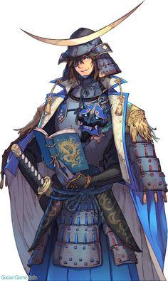 Fantasy Samurai, Samurai Concept, Anime Fantasy, Fantasy Girl, Samurai Weapons, Samurai Warrior, Manga Art, Anime Art, Date Masamune