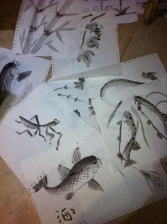 The Helpful Art Teacher: Draw and paint Koi (Carp) using traditional JapaneseandChinesetechniques Sumi E Painting, Chinese Painting, 8th Grade Art, Koi Carp, Muse Art, My Art Studio, Cool Art Projects, Middle School Art, Art Programs