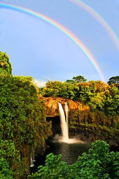 Waterfall, Double Rainbow Falls From Hawaii CJ