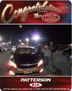 Congratulations to Michael and Angel Salas and his 2013 Kia Optima! - From Jeff Baker at Patterson Kia!