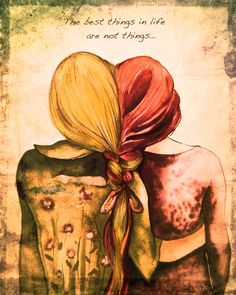 Red andblond hair sister best friend art print by claudiatremblay on Etsy