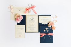 Nautical Wedding Invitation Coral and Navy by heatherobriendesign, $100.00