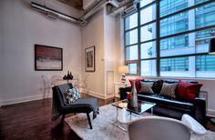 Concrete Column, Concrete Ceiling, Exposed Concrete, Toronto Lofts, High Windows, Lake Shore, Art Deco Buildings, Window Wall, Workout Rooms