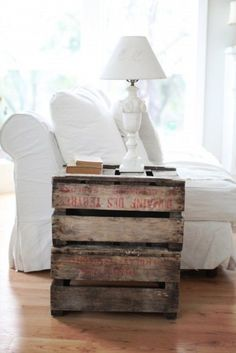 Pallet table - love this, but definitely different lamp.  I'm thinking mercury glass….