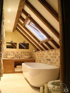 60 Attic Bathroom Makeover Ideas on A Budget - decorapartment Barn Bathroom, Loft Bathroom, Upstairs Bathrooms, Bedroom Loft, Modern Bathroom, Small Bathroom, Bathroom Mirrors, Bathroom Kids, Bedroom Inspo