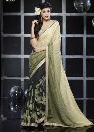 Casual Wear  Georgette Green Lace Border Work Saree