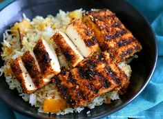 Butternut Squash Pilaf with Whole Spices - Cardamom, cloves, cinnamon and Breaded Tofu Strips