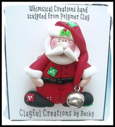 Becky's Polymer Clay  Chubby Santa with Jingle by clayfulcreations