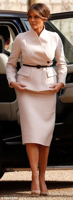 0ca46993573e Melania Trump wears her THIRD outfit of the day as she lands in Scotland