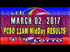 PCSO MidDay - 11AM RESULTS March 02, 2017 (EZ2 & SWERTRES)
