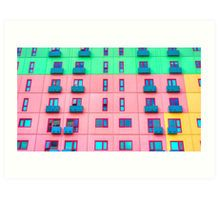 Colourfully Painted Exterior Apartment Building Wall - Melbourne, Victoria Art Print