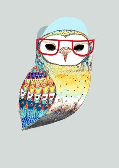 Hipster Art. The Hipster Owl. Limited edition by AshleyPercival, $40.00