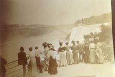 Vintage Black White Photo1906 Wedding Trip Niagara Women Fancy Hats Clothes Men
