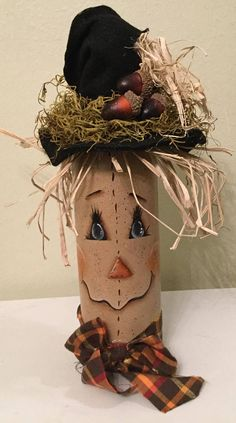 Scarecrow on Upcycled Wine Bottle Handpainted Fall Decor bottle crafts scarecrow Your place to buy and sell all things handmade Fall Wine Bottles, Wine Bottle Art, Painted Wine Bottles, Wine Bottle Crafts, Painted Jars, Scarecrow Painting, Scarecrow Crafts, Halloween Crafts, Scarecrow Face