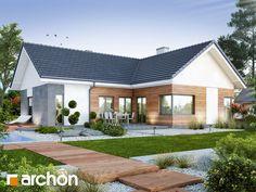 Dom w galach (G) House Front Design, Roof Design, Patio Design, Modern House Design, Exterior House Siding, Facade House, Bungalow Haus Design, Scandi Home, Bungalow Renovation