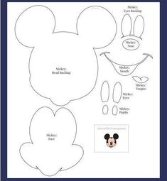 Moldes - Minnie e Mickey Mouse Baby Mickey, Mickey E Minnie Mouse, Mickey Mouse Crafts, Theme Mickey, Mickey Party, Mickey Mouse Birthday, Disney Crafts, Mickey Mouse Template, Scrapbook Da Disney