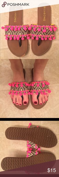 Billabong PomPom Sandals I absolutely adore these!!!! The pompoms on them are bright pink and the print is so fun!! Pregnancy made my feet grow so I never got to actually wear them but to the mailbox once!! 😢 hope someone will enjoy these as much as I wish I could!! 💕 Billabong Shoes Sandals
