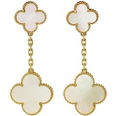 Van Cleef Arpels Magic Alhambra Mother-Of-Pearl Gold Drop Earrings ❤ liked on Polyvore featuring jewelry, earrings, 18k earrings, earrings jewelry, mother of pearl earrings, gold earrings and 18 karat gold jewelry