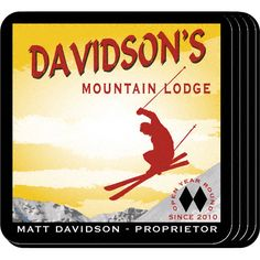 "Ski Lodge Personalized Bar Coaster Set. The ski enthusiast or home bartender will appreciate these sets of four richly detailed, waterproof coasters, which reflect his fave activity. Our personalized coasters are a perfect accessory to any bar or family room. Our Ski Lodge Personalized Beverage Coaster Set's personalized design is printed in full color onto a non-skid cork base. Includes 4 coasters and mahogany caddy for storage. Each coaster measures 3.75"" x 3.75""."