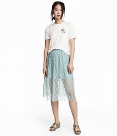 Check this out! Lace skirt with an elasticized waistband. Lined. - Visit hm.com to see more.