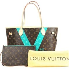 77a3ef5baf98 Louis Vuitton Limited Edition Turquoise Tote Louis Vuitton Neverfull  Monogram