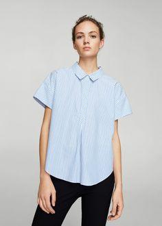 Bow fine-stripe blouse - Woman | MANGO United Kingdom