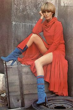 "'Purdey' from The New Avengers - With all the beautiful photos Joanna Lumley has taken and wonderful clothes she has worn, nothing may be as lovely as her in this red cowl dress (from ""Dirtier by the Dozen"") and blue suede boots. Avengers Girl, New Avengers, Carolyn Jones, Deborah Kerr, Catherine Deneuve, British Actresses, Actors & Actresses, Classic Actresses, Carrie Fisher"