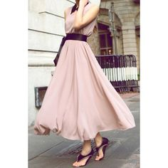Elegant V-Neck Sleeveless Solid Color Bowknot Waisted Corset Chiffon Women's DressChiffon Dresses | RoseGal.com